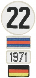 Patchs brodés 24H Le Mans - 1971 - Pack of 4 patches to the colour of the winning car of Le Mans 24H - 1971