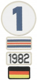Patchs brodés 24H Le Mans - 1982 - Pack of 4 patches to the colour of the winning car of Le Mans 24H - 1982
