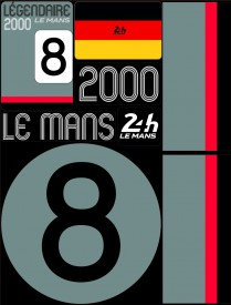 Planche de 72 autocollants 24H Le Mans 2000 - Pocket composed of 5 sheets or 72 printed PVC stickers, removable. Le Mans 24h design