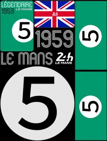 Planche de 72 autocollants 24H Le Mans 1959 - Pocket composed of 5 sheets or 72 printed PVC stickers, removable. Le Mans 24h design