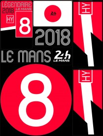 Planche de 72 autocollants 24H Le Mans 2018 - Pocket composed of 5 sheets or 72 printed PVC stickers, removable. Le Mans 24h design