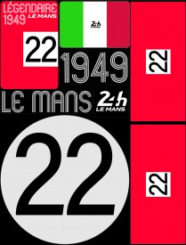 Planche de 72 autocollants 24H Le Mans 1949 - Pocket composed of 5 sheets or 72 printed PVC stickers, removable. Le Mans 24h design