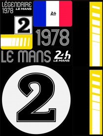 Planche de 72 autocollants 24H Le Mans 1978 - Pocket composed of 5 sheets or 72 printed PVC stickers, removable. Le Mans 24h design