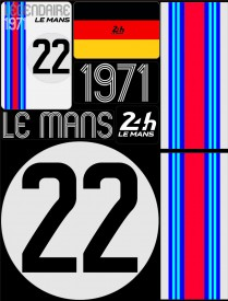 Planche de 72 autocollants 24H Le Mans 1971 - Pocket composed of 5 sheets or 72 printed PVC stickers, removable. Le Mans 24h design