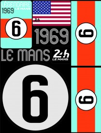 Planche de 72 autocollants 24H Le Mans 1969 - Pocket composed of 5 sheets or 72 printed PVC stickers, removable. Le Mans 24h design